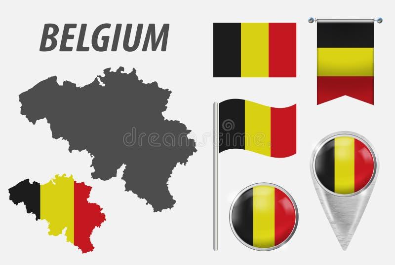 Belgia Kolekcja symbole w kolor fladze pa?stowowej na r??norodnych przedmiotach odizolowywaj?cych na bia?ym tle Flaga, pointer royalty ilustracja