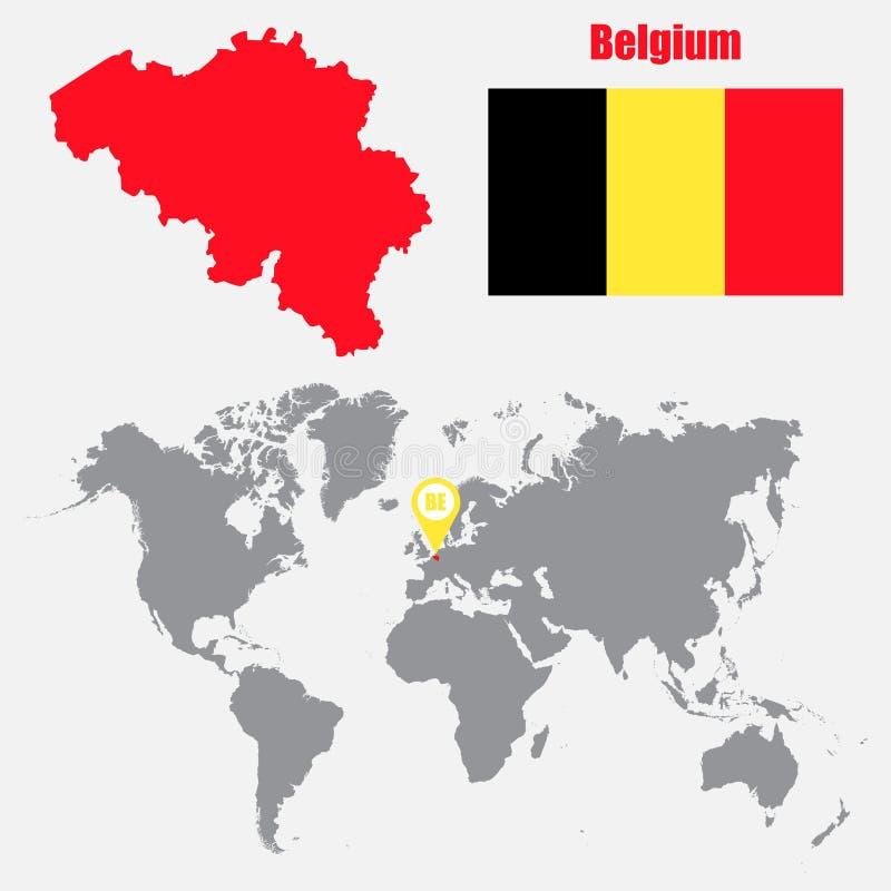 Belgia mapa na światowej mapie z flaga i mapy pointerem również zwrócić corel ilustracji wektora ilustracja wektor