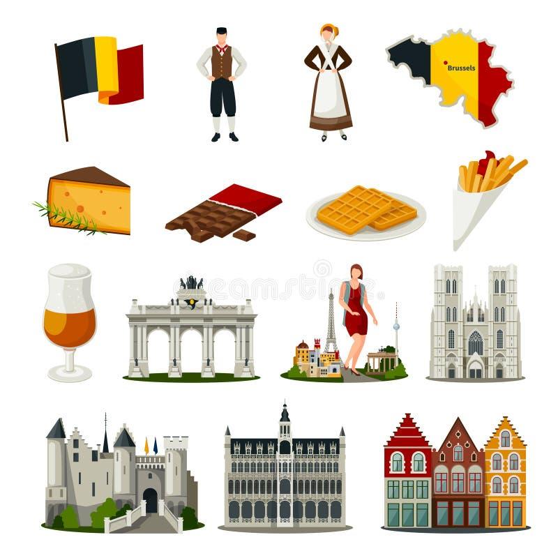 Belgia mieszkania stylu ikony Ustawiać ilustracji