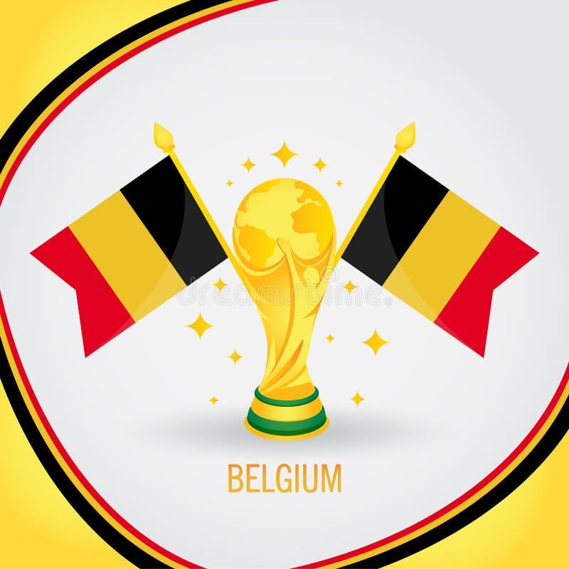 Belgia mistrza Futbolowego pucharu świata 2018 - Chorągwiany i Złoty trofeum ilustracji