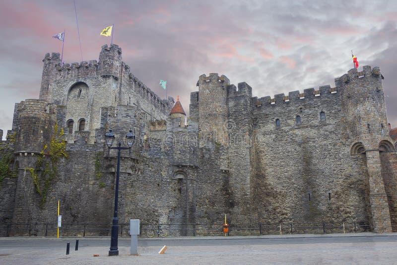 Belgia szacowny Gravensteen kasztel zdjęcie royalty free