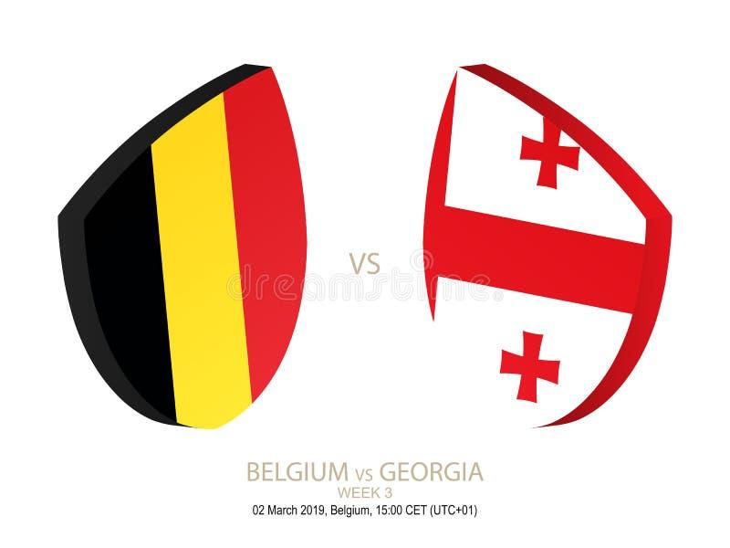 Belgia vs Gruzja rugby 2019 mistrzostwo, tydzień 3 ilustracja wektor