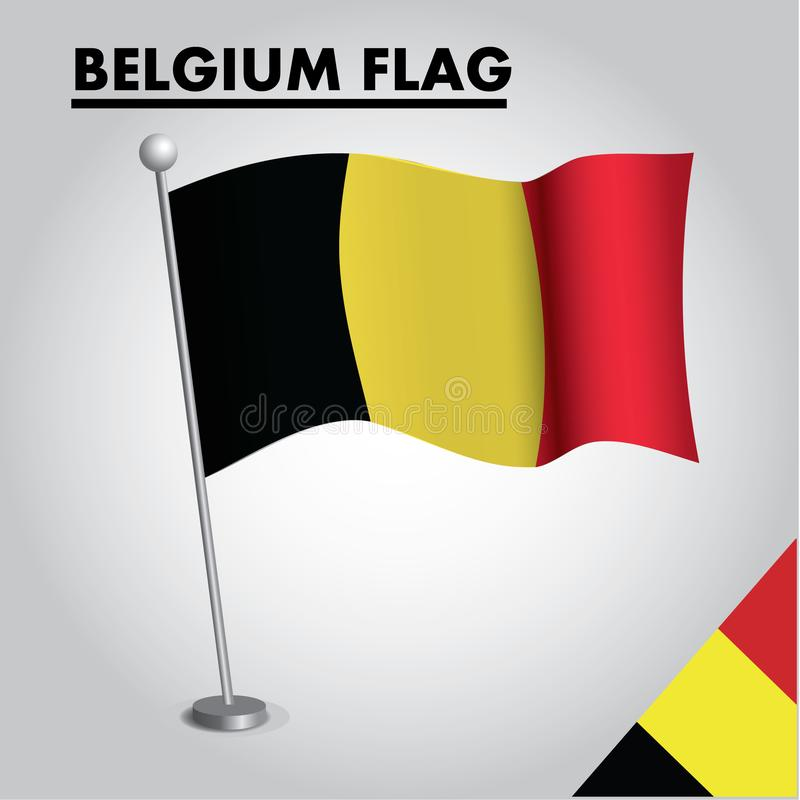 BELGIA zaznacza flagę państowową BELGIA na słupie ilustracji