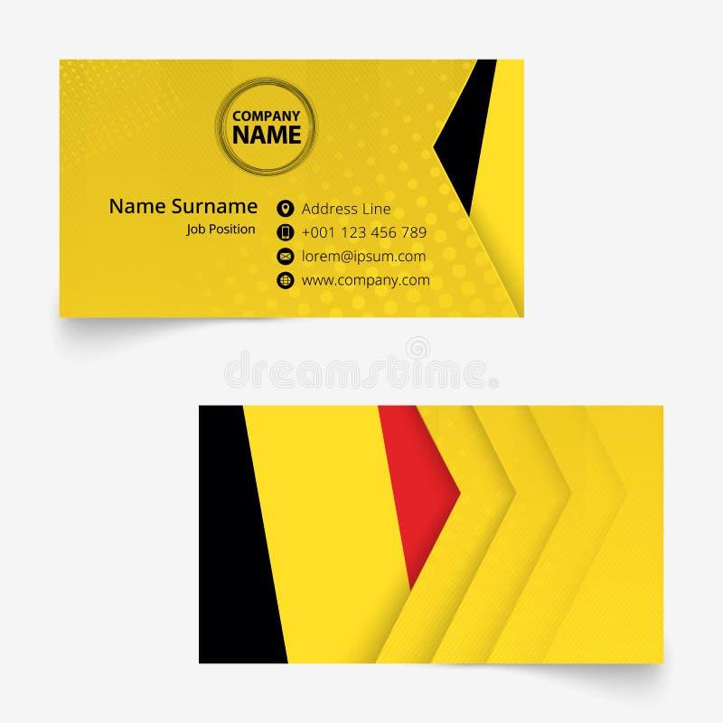 Belgia Zaznacza wizytówkę, standardowego rozmiaru 90x50 mm wizytówki szablon ilustracja wektor