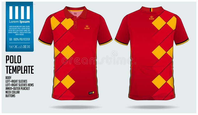 Belgia Zespala się polo koszulki sporta szablonu projekt dla piłki nożnej bydła, futbolowego zestawu lub sportwear, Klasyczny koł ilustracja wektor