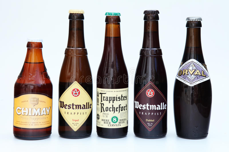 Belgian beers. Typically Belgian 'Trappist' beers, brewed inside Trappist monasteries royalty free stock photos