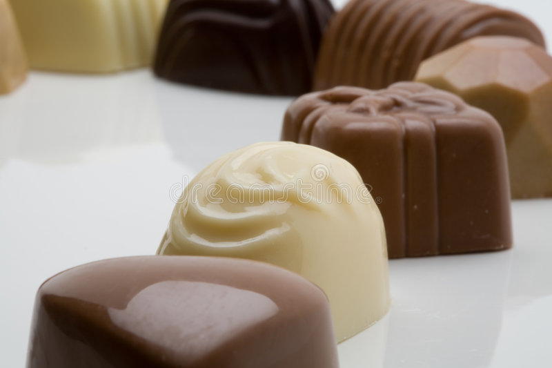 Belgian chocolates. Selection of tasty Belgian chocolates stock photos