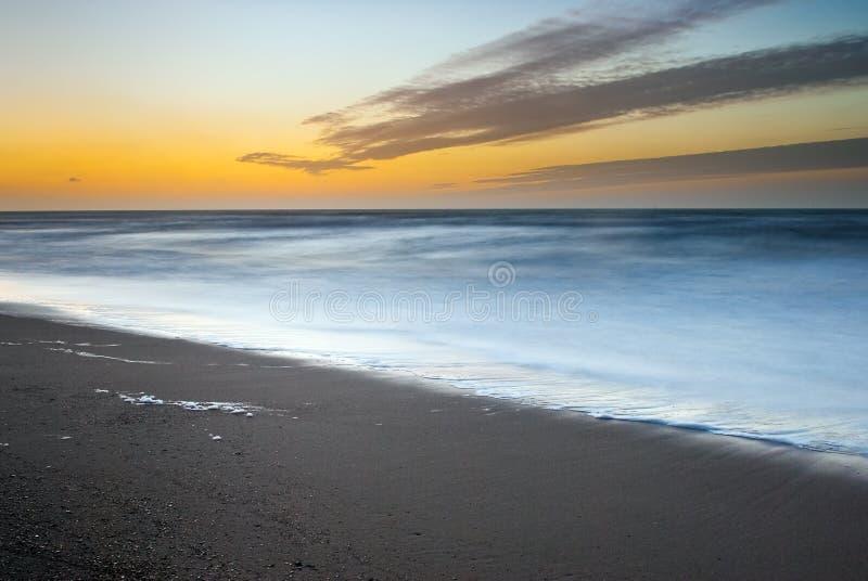 Belgian coastline during sundown stock photo