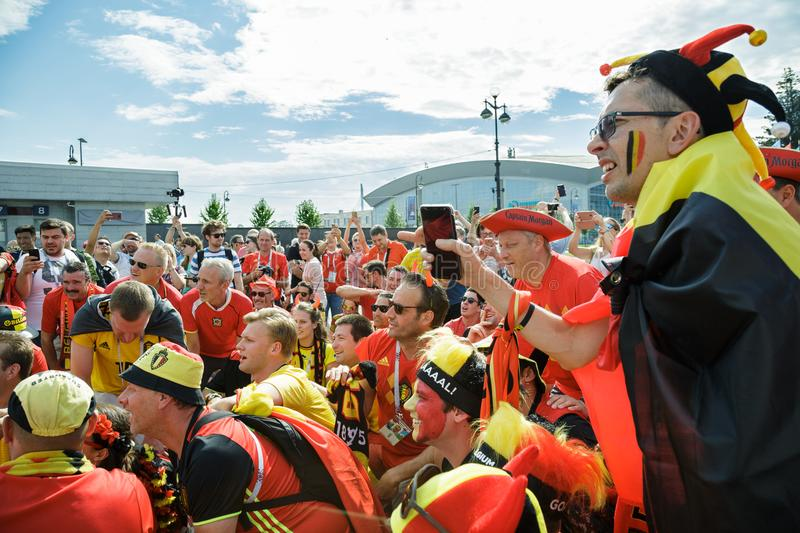Belgian fans parade going to stadium. royalty free stock image