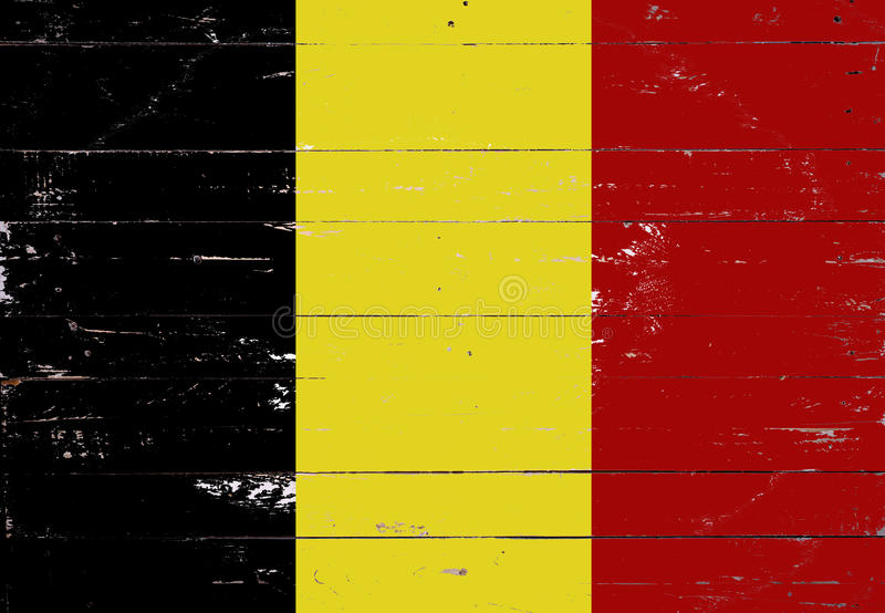 Belgian flag painted on a wooden board. Belgian flag painted on a white wooden board royalty free stock images