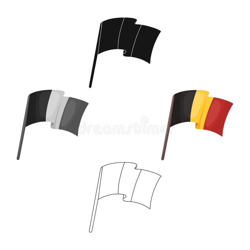 belgian flaga Ciemny Belgijski wilk Belgia pojedyncza ikona w kreskówce, czerń symbolu zapasu stylowa wektorowa ilustracja ilustracja wektor
