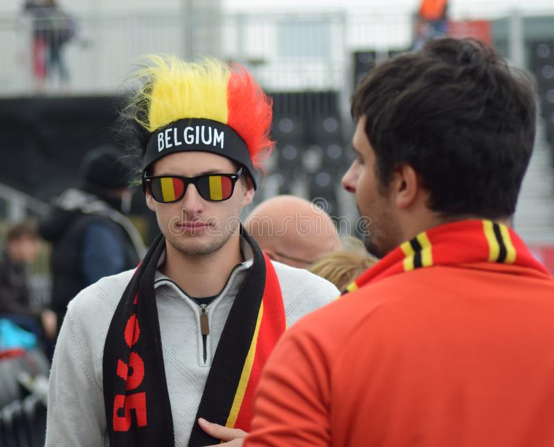 Belgian Hockey Fans at the FIH Pro League. In London 2019 royalty free stock photos