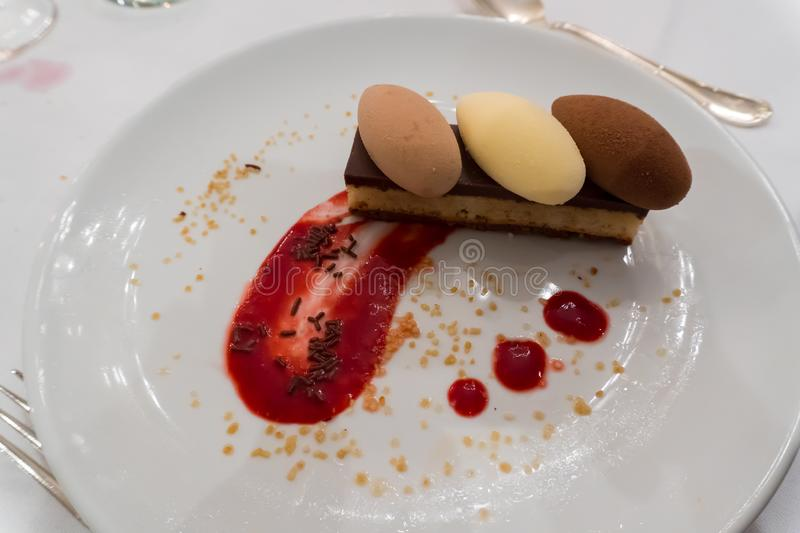 A Belgian three chocolates dessert royalty free stock photography