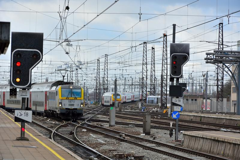 Belgian trains, trainstation. Belgian trains ariving at the station in brussels, belgium royalty free stock photography