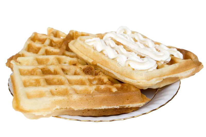 Belgian waffle. With cream isolated on white background stock photography