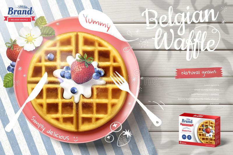 Belgian waffle ads with fruit. Belgian waffle ads with delicious fruit and cream in 3d illustration on outdoor white wooden table, top view stock illustration