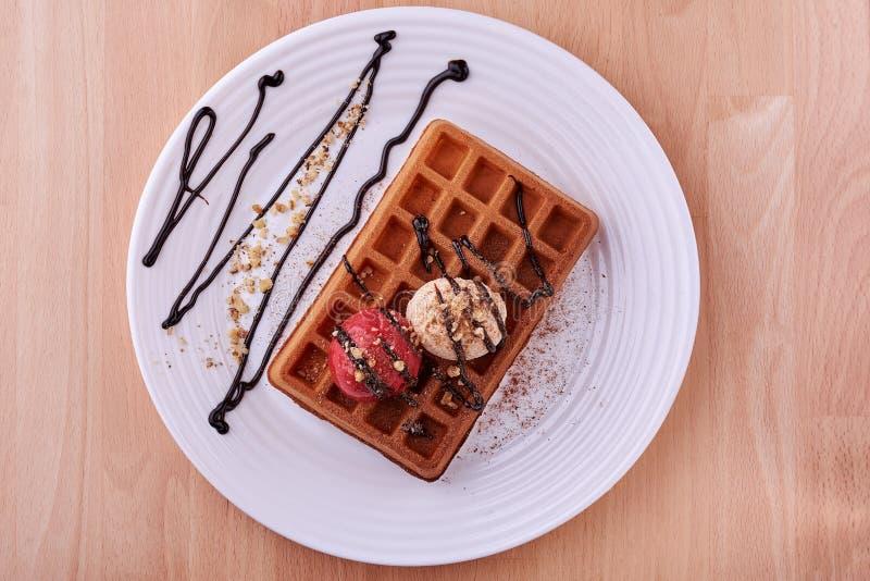 Belgian waffle with ice cream. stock photos