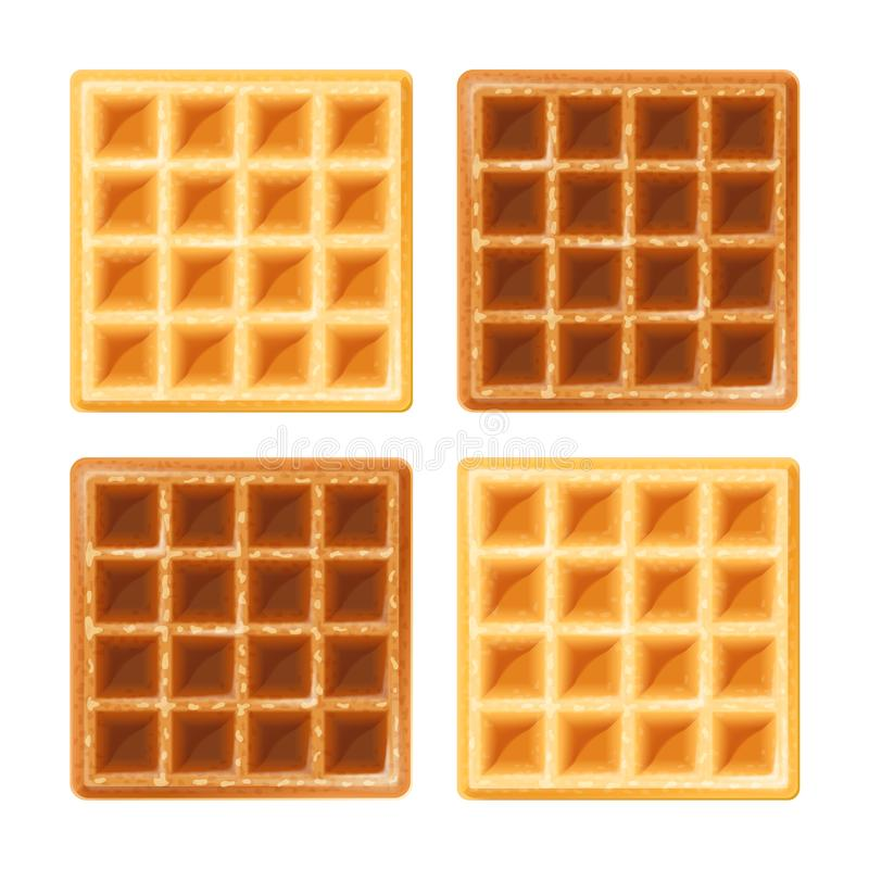 Belgian waffle. Sweetness snack. Food for lunch, dessert. Realistic homemade bake. Isolated white background. EPS10 vector illustration royalty free illustration