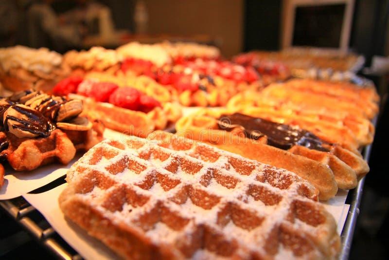 Belgian Waffles. Variety of Belgian Waffles in Brussels stock image