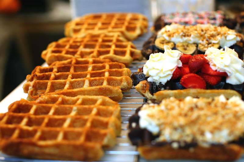 Belgian waffles. Topped with cream and fruit stock photography
