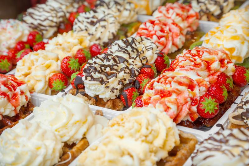 Belgian waffles in Brussels stock photos