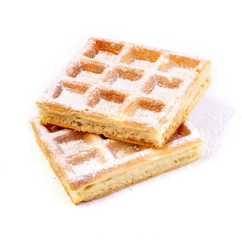 Belgian waffles on white. Background stock image