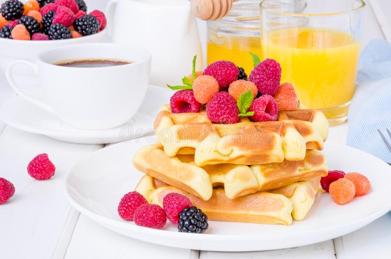 Belgian waffles with raspberries and blackberries for breakfast royalty free stock image