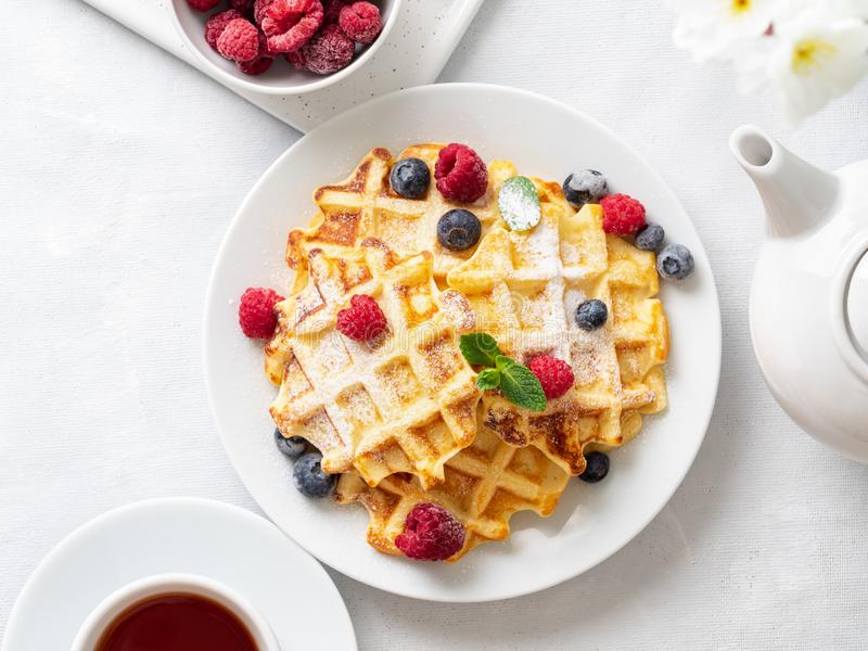Belgian waffles with raspberries, blueberries, curd and tea, top view. Healthy homemade breakfast, light concrete background royalty free stock image