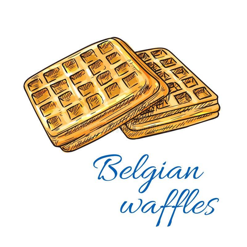Belgian waffles sketch icon. Patisserie emblem vector illustration