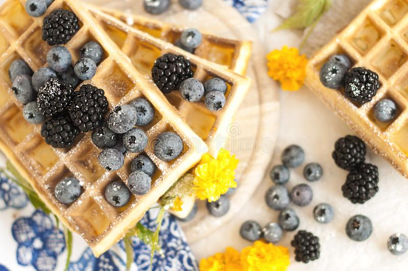 Belgian waffles with strawberries, blueberries and syrup, homemade healthy breakfast, toned image, selective focus, royalty free stock photo