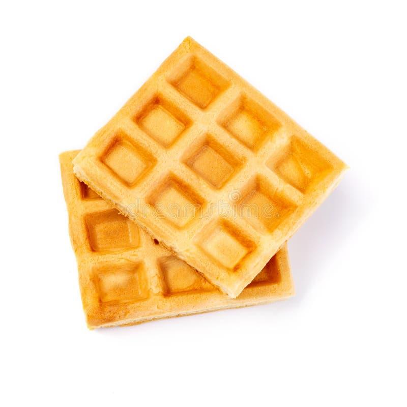 Belgian waffles on white. Belgian waffles isolated on white background stock photo