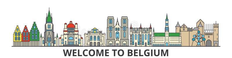 Belgien översiktshorisont, plan tunn linje symboler, gränsmärken, illustrationer för belgare Belgien cityscape, belgisk loppstad stock illustrationer