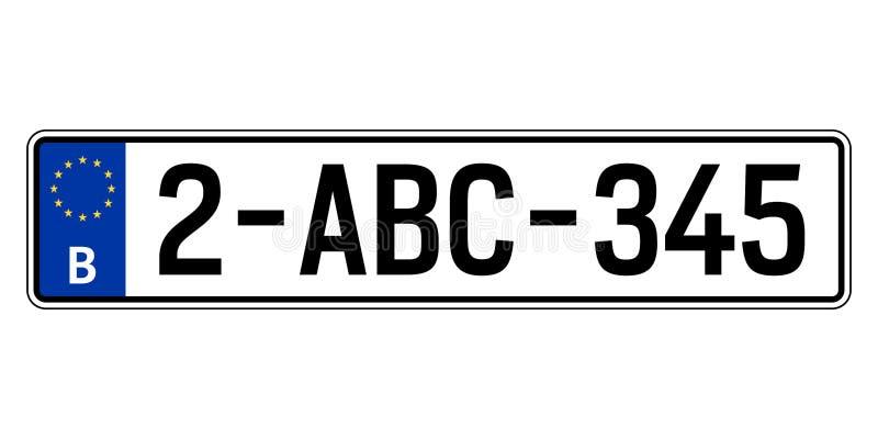 Belgien-Autoplatte Polizeiliches Kennzeichen lizenzfreie abbildung
