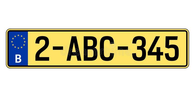 Belgien-Autoplatte Polizeiliches Kennzeichen vektor abbildung