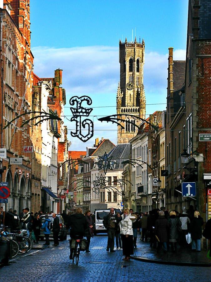 Belgien bruges gator arkivfoton