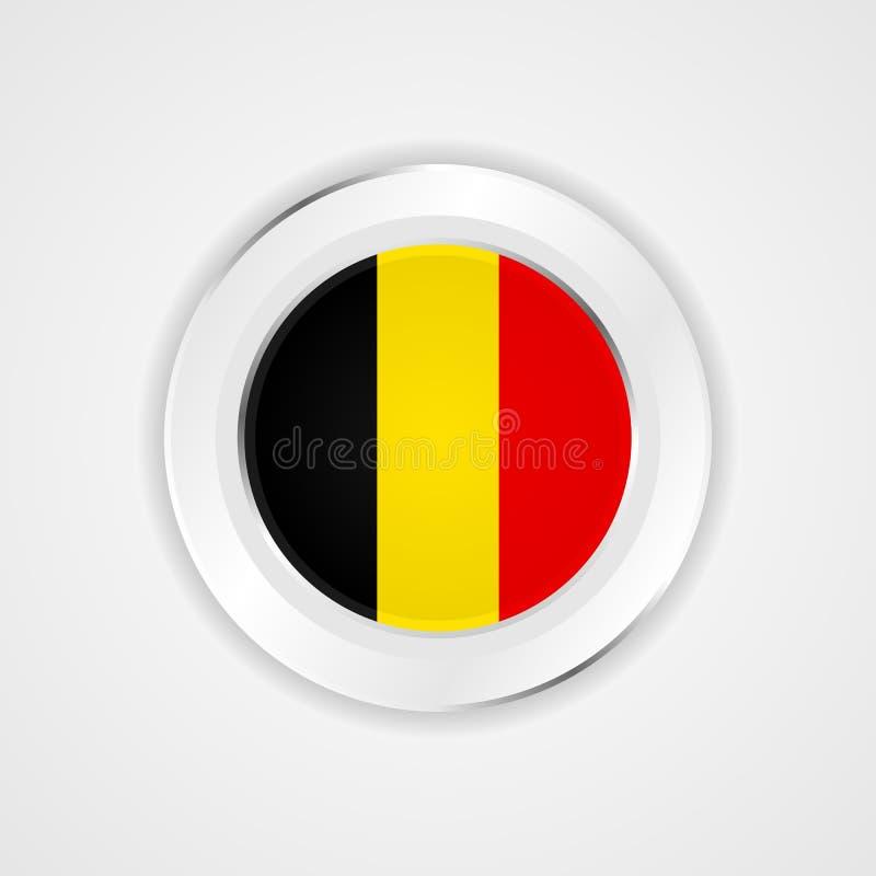Belgien flagga i glansig symbol vektor illustrationer