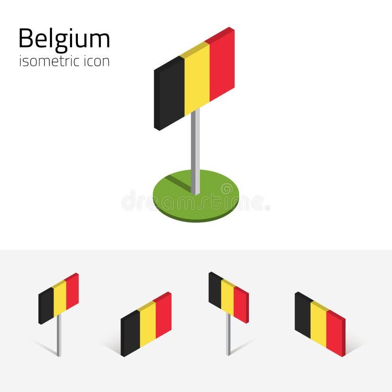 Belgien flagga, vektoruppsättning av isometriska symboler 3D vektor illustrationer