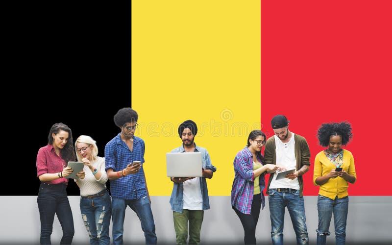 Belgien-Flaggen-Land-Nationalität Liberty Concept lizenzfreies stockbild