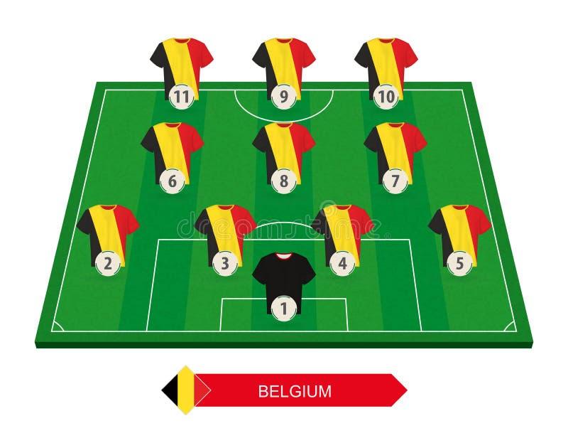 Belgien fotbollslaglineup på fotbollfältet för europeisk footba royaltyfri illustrationer
