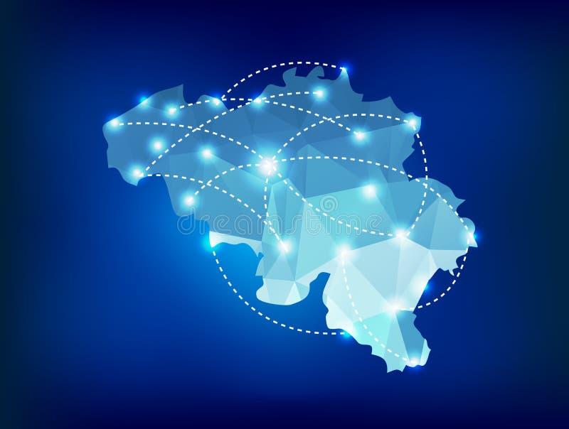 Belgien-Landkarte polygonal mit Scheinwerferlichtwinkel des leistungshebels stock abbildung
