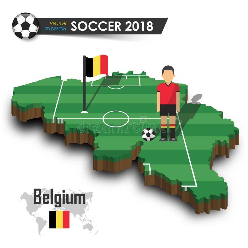 Belgien nationellt fotbolllag Fotbollsspelare och flagga på landsöversikt för design 3d Isolerad bakgrund Vektor för internationa stock illustrationer