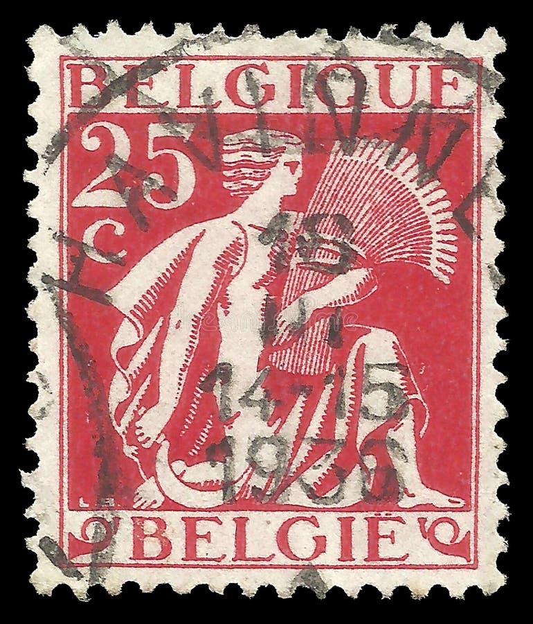 Belgien - Stempel 1932: Standardausgabe auf der Landwirtschaft, stellt dar, dass mythologisch Ährenleser Ceres lizenzfreie stockfotografie