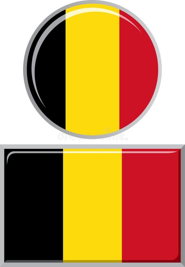 Belgijska round i kwadratowa ikony flaga wektor royalty ilustracja