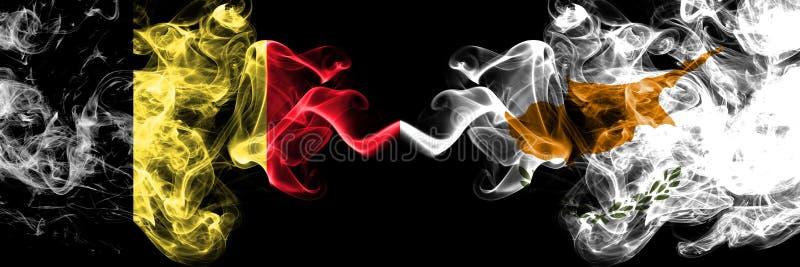Belgisch Belgi?, Cyprus, Cypriotische de concurrentie dik kleurrijke rokerige vlaggen De Europese spelen van voetbalkwalificaties royalty-vrije illustratie