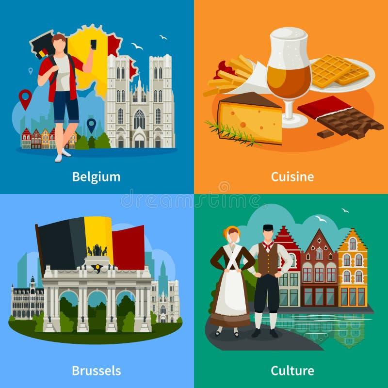 Belgisch de Reisconcept van de Oriëntatiepunten Vlak Stijl stock illustratie