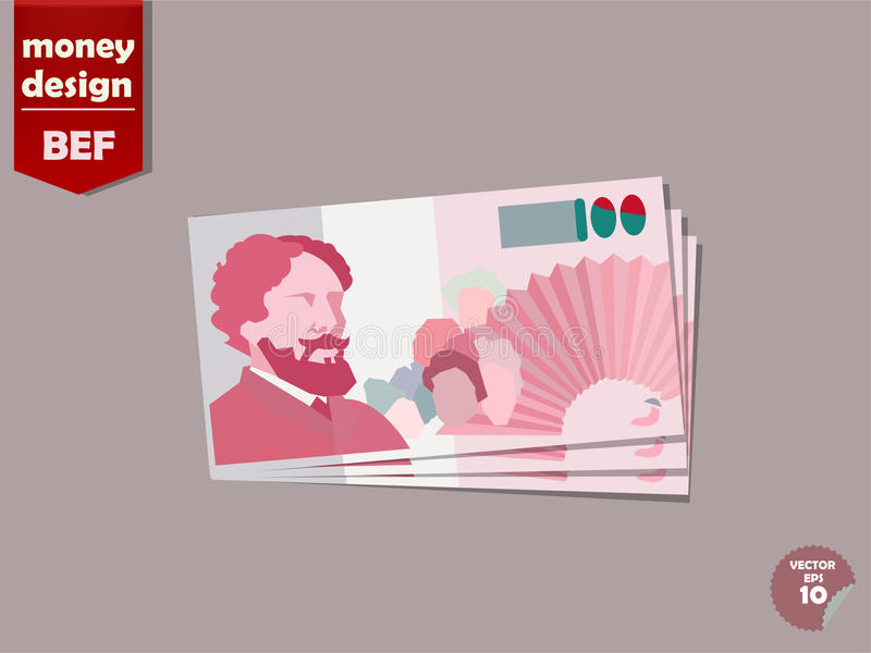 Belgisch het document van het frankgeld vectorontwerp, het geldconcept van België stock illustratie