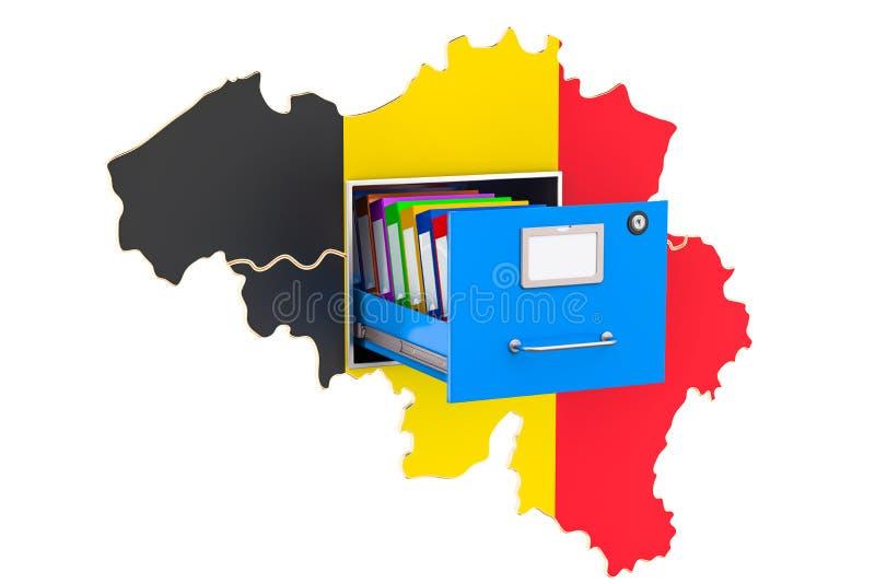Belgisch nationaal gegevensbestandconcept, het 3D teruggeven stock illustratie