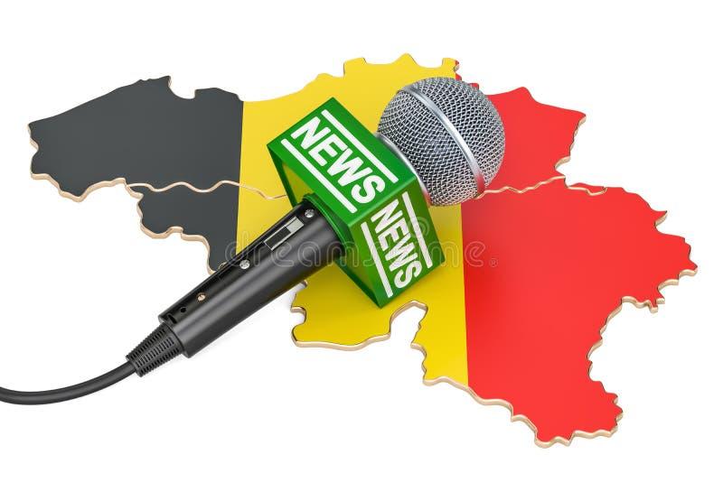 Belgisch Nieuwsconcept, microfoonnieuws op de kaart van België 3d vector illustratie