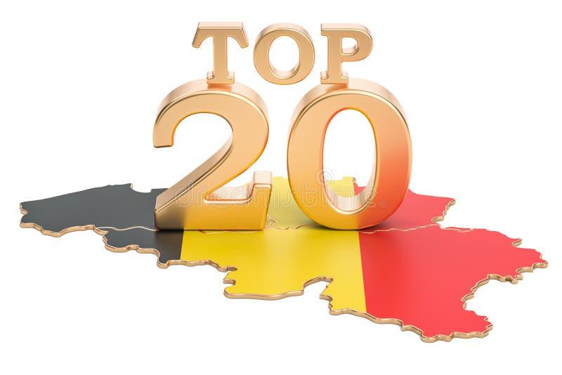 Belgisch top 20 concept, het 3D teruggeven vector illustratie