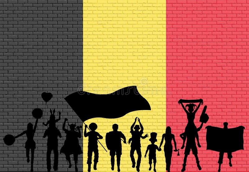 Belgisch verdedigerssilhouet voor bakstenen muur met België stock illustratie